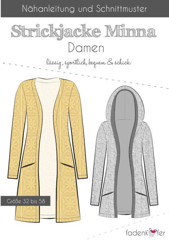 Strickjacke Minna Damen - DIN A0 Papierschnittmuster und Kurzanleitung