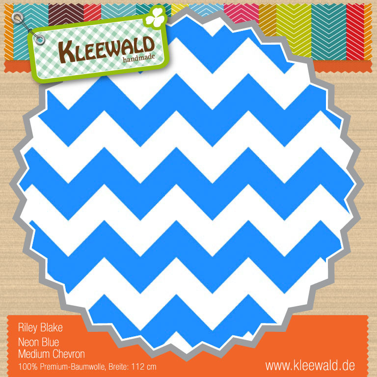 Neon Blau Medium Chevron - Riley Blake