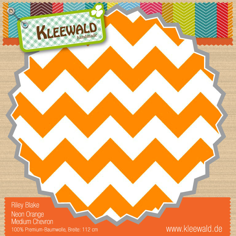 Neon Orange Medium Chevron - Riley Blake
