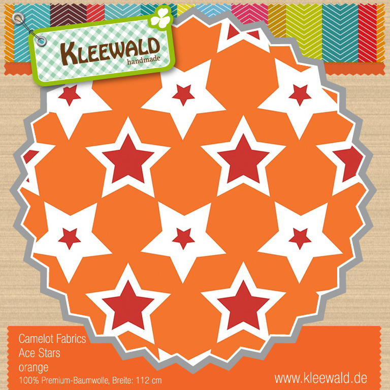 Ace Stars orange - by Camelot Fabrics