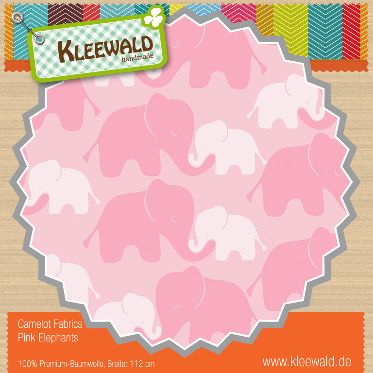 Pink Elephants - by Camelot Fabrics