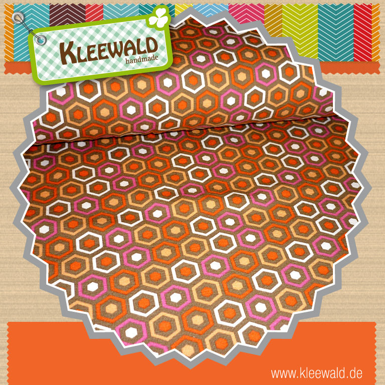 STENZO Jersey Retro Hexagon braun pink orange weiß
