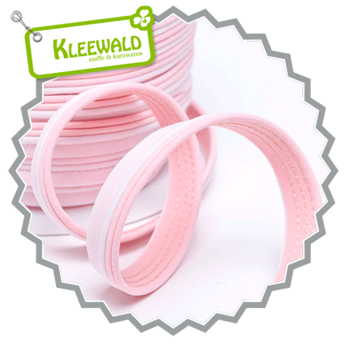Dreifarbiges Paspelband 14 mm - rosa