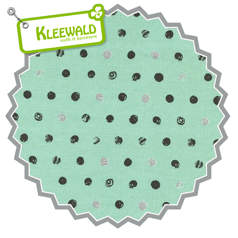 SPELLBOUND  / Skull Dot Metallic Mint / by Cotton + Steel / 100% Cotton