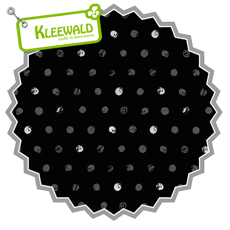 SPELLBOUND  / Skull Dot Metallic Black / by Cotton + Steel / 100% Cotton