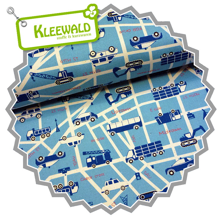 KOKKA ECHINO OXFORD / Ecoli Mini - City Map Blue