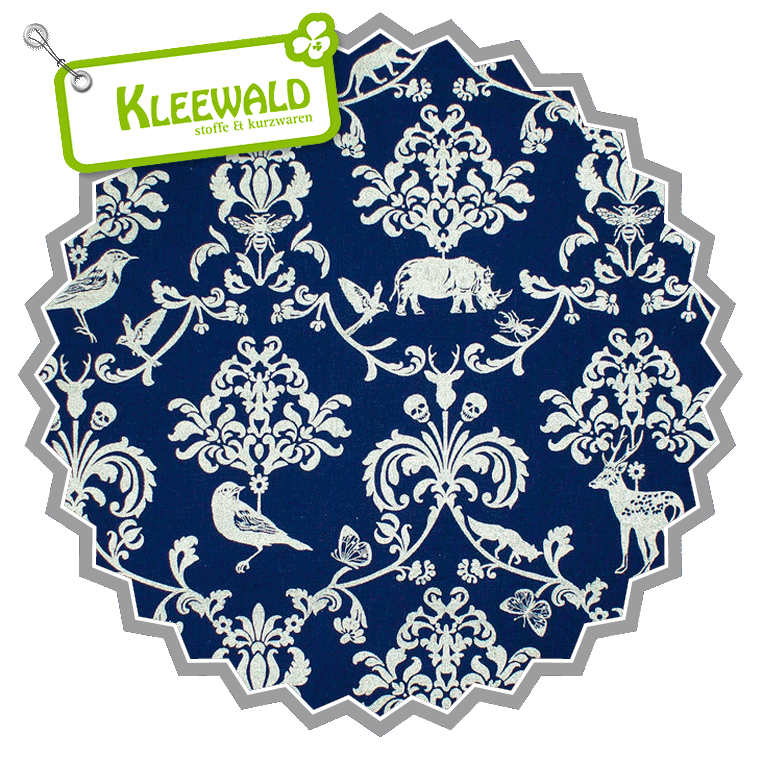 ECHINO CANVAS metallic / Ornamental Animals silver-blue