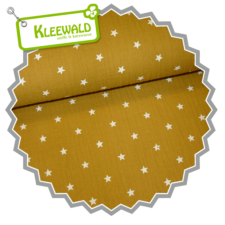 Double Gauze Crepe / OCRE mit weißen Sternchen – 100% CO
