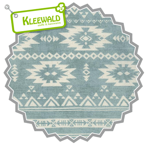 KOKKA ECHINO BARK CLOTH / Soft Ethnic Iceblue / Baumwolle