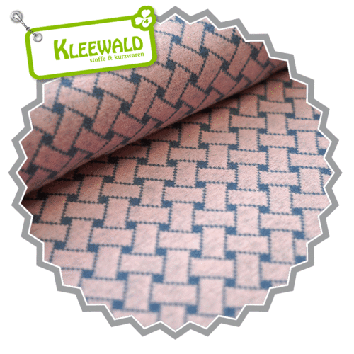 Bio-Jacquard kbA / Flechtmuster / cold pink-china blue / by Stoffonkel