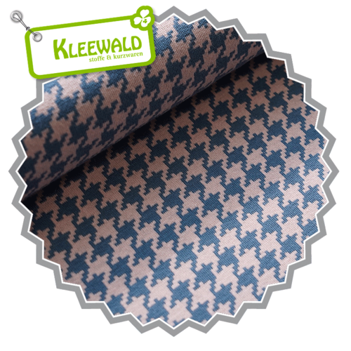 Bio-Jacquard kbA / Hahnentritt / cold pink-china blue / by Stoffonkel