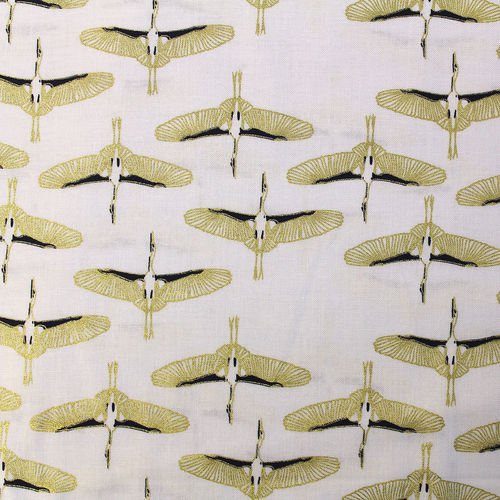 MYSTIC CRANES • FLYING CRANES METALLIC WHITE • by CAMELOT FABRICS