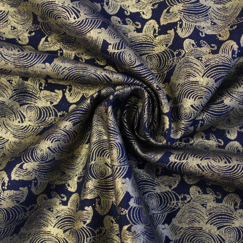 MYSTIC CRANES • WAVES METALLIC NAVY • by CAMELOT FABRICS