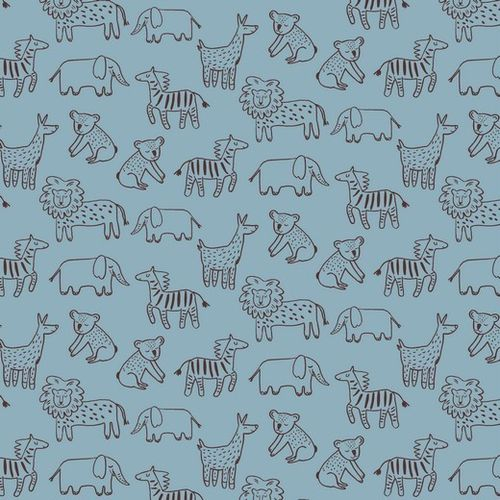 ORGANIC SOFT SWEAT HAPPY ANIMALS LIGHT BLUE