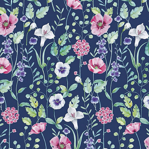 ORGANIC FRENCH TERRY DIGITAL PRINT FLOWERS DARK COBALT