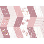 POPLIN COTTON BABY WIMPELKETTEN PANEL OLD ROSE