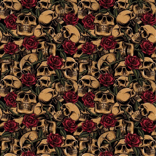 POPLIN COTTON SKULLS WITH ROSES