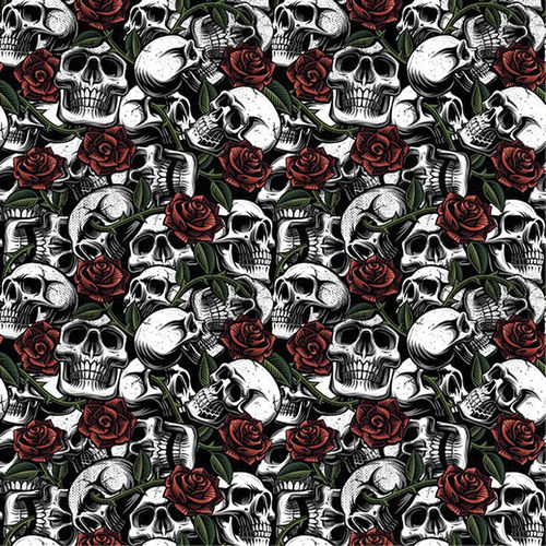 POPLIN COTTON SKULLS WITH ROSES WHITE