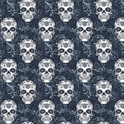 ORGANIC FRENCH TERRY SKULLS - NAVY